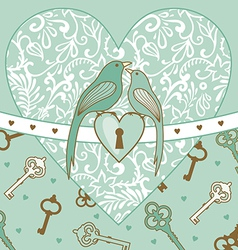 Birds and heart vector