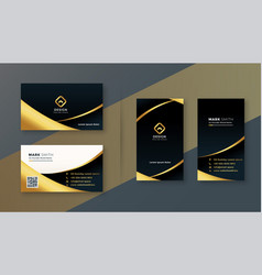 Black and golden premium business card design vector