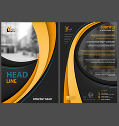 Black flyer template with orange stripes vector