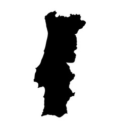 Black silhouette country borders map of portugal vector
