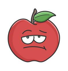 Bored red apple cartoon apple vector