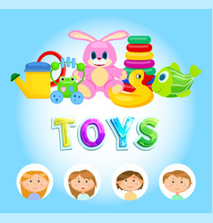 bright colorful playthings kids and toys vector image
