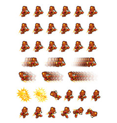 brown bear with jet pack and gun game sprites vector image