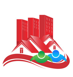 Building real estates city and homes icon vector