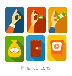Business rectangular icons with rounded corners vector image