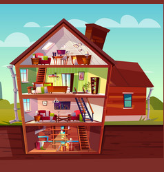 Cartoon multistorey house in cross section vector