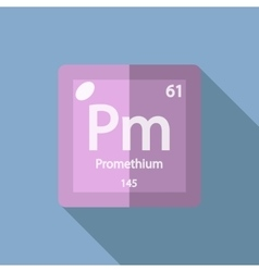Chemical element Promethium Flat vector image