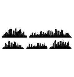 city silhouette set panorama city vector image