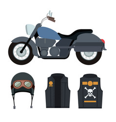 classic blue motorcycle with jacket and helmet vector image