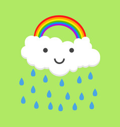 color happy rainbow with rain vector image