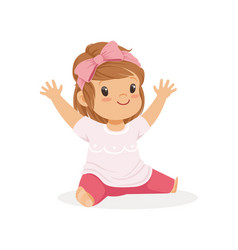 Cute little girl sitting dressed in casual clothes vector