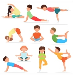 Cute yoga kids set Children yoga gymnastics vector