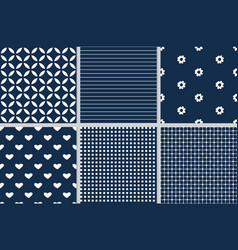 dark blue geometric seamless pattern collection vector image