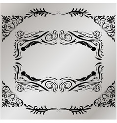 Decorative frame retro black frame on gray vector