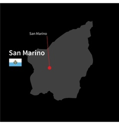 Detailed map of San Marino and capital city San vector image