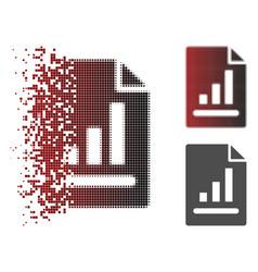 Disintegrating dot halftone chart page icon vector