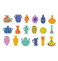 Doodle ceramic vase cartoon ancient pottery vector