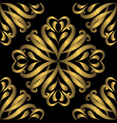 Embroidery gold damask seamless pattern tapestry vector