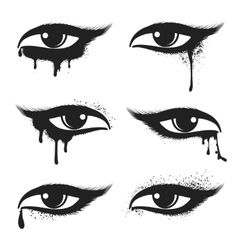 Eyes with black drops and smudges vector