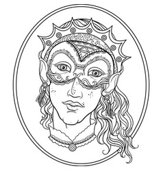 Fantasy young elf face coloring book for adults vector