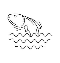 farming fish icon hand drawn icon set outline vector image