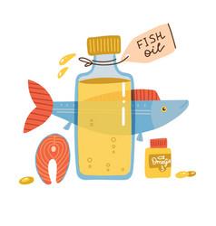 Fish oil items nutrition omega 3 fatty acid vector