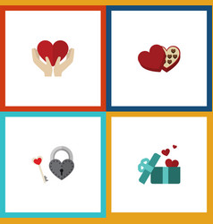 flat icon passion set of key gift save love and vector image