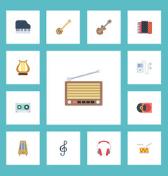 flat icons lyre earphone acoustic and other vector image