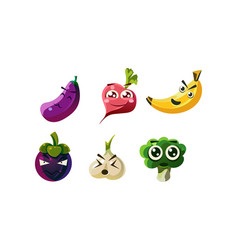 Flat set of humanized vegetables and fruits vector