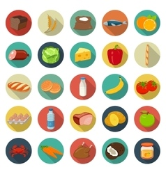 Food and drinks icons set Flat design icons vector image vector image