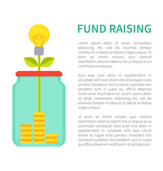 fund raising bright poster with jar money box vector image