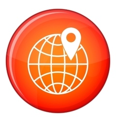 Globe with pin icon flat style vector