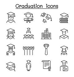 Graduation and commencement icon set in thin line vector