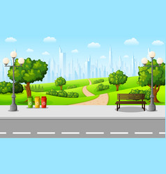 green city park and streetlight on suburban vector image