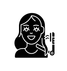 Hair styling black glyph icon vector