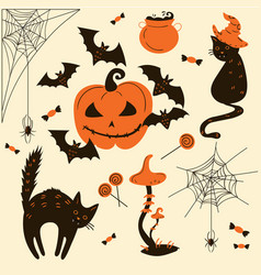 Halloween cats and pumpkins trick or treat object vector