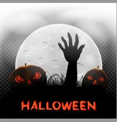Halloween pumpkins zombie hand and moon vector