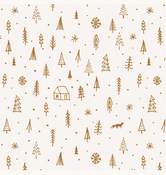 hand drawn christmas pattern with fir and pine vector image