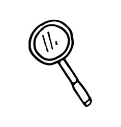 hand drawn magnifier doodle icon isolated on vector image
