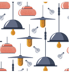 hanging lamps and light bulbs seamless pattern vector image