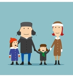 Happy family in winter wear are walking together vector image