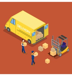 Isometric Delivery Car Cargo Industry Worker vector