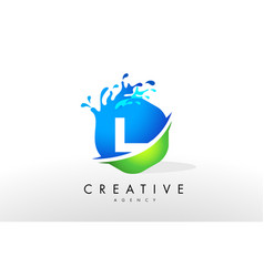 L letter logo blue green splash design vector