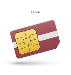 Latvia mobile phone sim card with flag vector