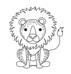 lion cute wildlife icon vector image