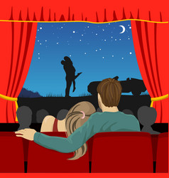 Lovers watching romantic movie in cinema theater vector