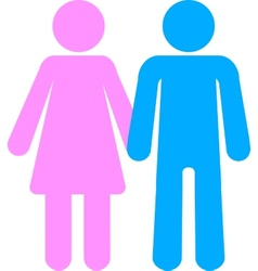 Man and woman pink blue toilet silhouettes vector image