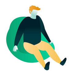 Man at bean bag icon isometric style vector