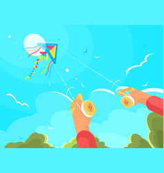 Man playing with kite vector