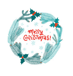 merry christmas wreath with fir branches and red vector image